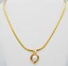 Gorgeous 14kt Gold Big Herringbone Chain & Pearl Slide Necklace