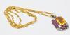 Unique Citrine & Diamond Solid Gold Pendant Necklace