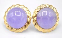 14kt Yellow Gold Jade Earrings