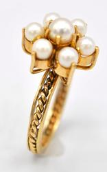 Gorgeous 14kt Yellow Gold Pearl Cocktail Ring
