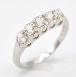14kt Solid White Gold 5 Stone Band Ring
