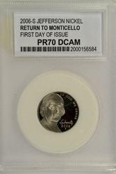 2006-S Jefferson Nickel First Day of Issue PCC PR70DCAM