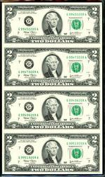 Uncut Sheet of 4 2003 $2 Bills in Custom Folio