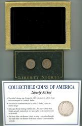 2 Liberty 'V' Nickels in Custom Display