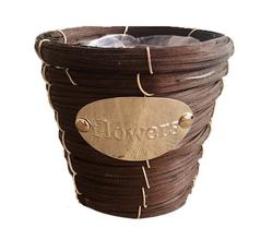 Decor Flowerpot Wicker Weaving Flower Arrangement Planters(C)