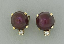 Oval Ruby Cab Stud Earrings