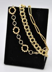 Group Lot of 3 Solid 14kt Yellow Gold Bracelets