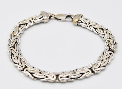 Bold 14kt Solid White Gold Byzantine Chain Bracelet
