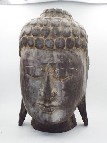 Large Carved Wooden Buddha Head Statue