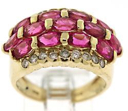 Pink Tourmaline and Diamond Multi Row Ring