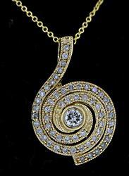 Fabulous Bezel Set Diamond Swirl Necklace