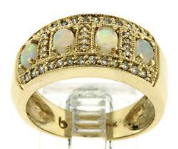 Nice Opal and Diamond Band Ring
