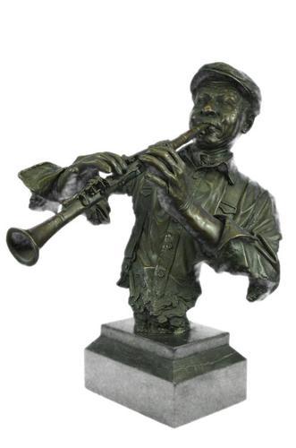 Black African Clarinet Player Bronze Sculpture Hot Cast