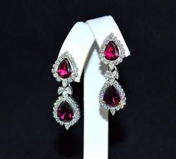 18kt Gold Tourmaline & Diamond Chandelier Earrings