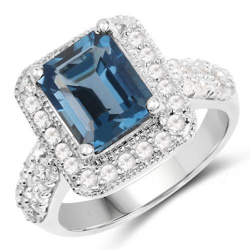 Rare Genuine London Blue Topaz Cocktail Ring