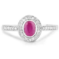 Ruby & Diamond Halo Ring in Solid Gold