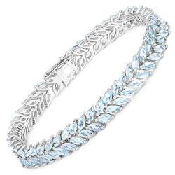 10+ Carat Natural Aquamarine Tennis Bracelet