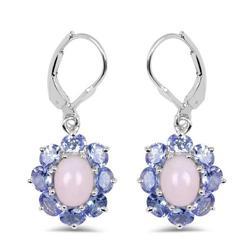 5 Carat Pink Opal & Tanzanite Silver Earrings