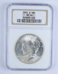 MS64 1924-S Peace Silver Dollar - NGC Graded