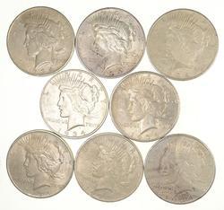 Lot (8) 1934-D Peace Silver Dollars