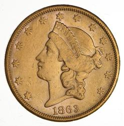 1863-S $20.00 Liberty Head Gold Double Eagle - Circulated