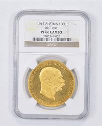 PF66 Cameo 1915 Austria 100 Corona Gold - Restrike - Graded NGC