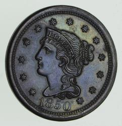 1850 Braided Hair Large Cent - BLUE Tone