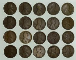 Lot (20) 1909-S Lincoln Wheat Cents