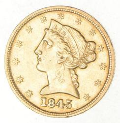 1845 $5.00 Liberty Head Gold Half Eagle