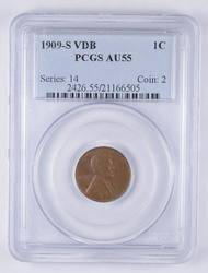 AU55 1909-S VDB Lincoln Wheat Cent - Graded PCGS