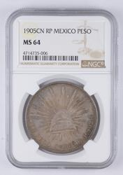 MS64 1905 CN RP Mexico 1 Peso - Graded NGC