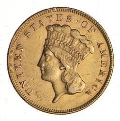 1874 $3.00 Indian Princess Head Gold Three-Dollar Piece