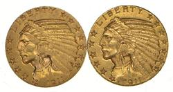 Lot (2) 1911 $5.00 Indian Head Gold Half Eagles