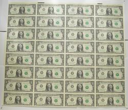 Sheet Of 32 2003-A $1 Federal Reserve Notes - Uncut Sheet Of Notes!