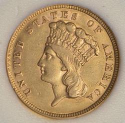 1854 Indian Princess Head Three-Dollar Gold Piece