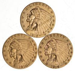 Lot (3) 1910 1914 & 1915 $2.50 Indian Head Gold Quarter Eagles