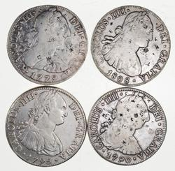 Lot (4) 1779-1808 Spanish Colonies Silver 8 Reales - Pirate Treasure!