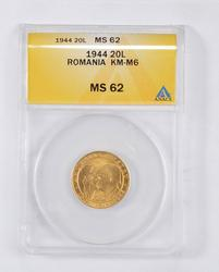 MS62 1944 Romania 20 Lei Gold Medal - KM-M6 - Graded ANACS