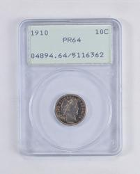 PR64 1910 Barber Dime - OGH - Graded PCGS