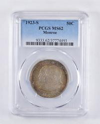 MS62 1923-S Monroe Doctrine Commem. Half Dollar Rainbow Toned PCGS