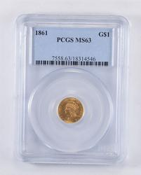 MS63 1861 Indian Princess Head Gold Dollar - Graded PCGS