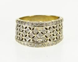 14K Yellow Gold Diamond Encrusted Ornate Lattice Design Band Ring