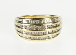 10K Yellow Gold 0.78 Ctw Tiered Channel Diamond Inset Band Ring