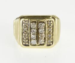 10K Yellow Gold 0.32 Ctw Diamond Encrusted Squared Grooved Ring