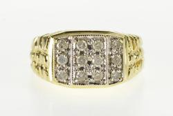 14K Yellow Gold 0.36 Ctw Diamond Squared Cluster Texture Nugget Ring