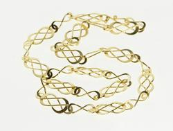 14K Yellow Gold Ornate Design Infinity Curvy Loose Knot Link Necklace