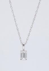 14K White Gold Emerald Cut Diamond Necklace
