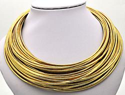 LADIES 14 KT YELLOW GOLD STRAND NECKLACE.