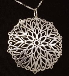 Large Round Floral Pendant on 18in Chain