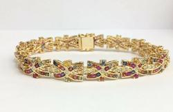 Stunning 14kt Gold Sapphire & Diamond Bracelet, 10.0 Carats!